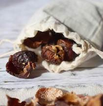 Soap nuts out of a cloth bag in plastic free home